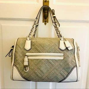 Vintage Coach in gray trimmed with white leather
